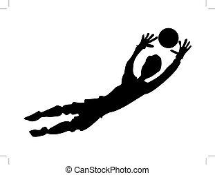 soccer goalkeeper - silhouette of soccer goalkeeper