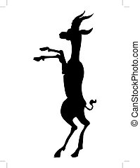 African antelope - silhouette of African antelope