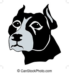 pit bull - silhouette of pit bull