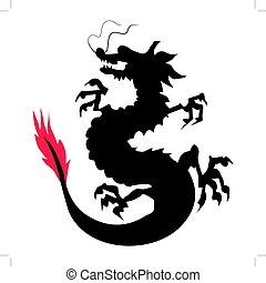 Chinese dragon - silhouette of Chinese dragon