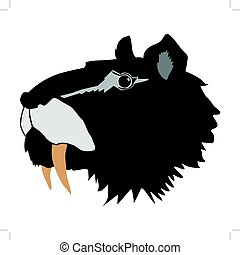 saber-toothed tiger - silhouette of saber-toothed tiger