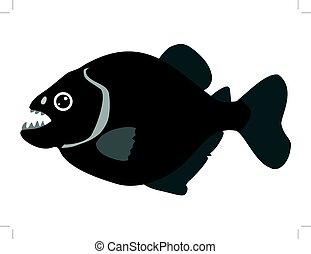 piranha - silhouette of piranha