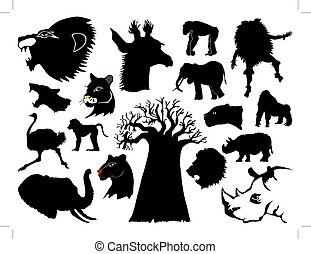 African wildlife - set of silhouettes of African animals