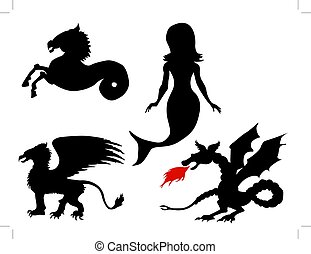 mythological creatures - set of vector illustrations of...
