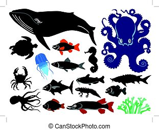 underwater life - set of silhouettes of water animals