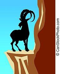 mountain goat - silhouette of mountain goat