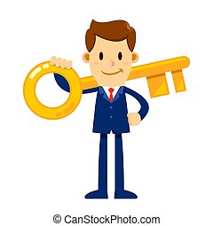 Businessman Holding Golden Key To Success - Vector stock of...