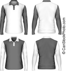 Men's long sleeve polo shirt. Front and back views of...