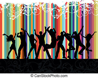 Grunge party - Silhouettes of people dancing on a floral...