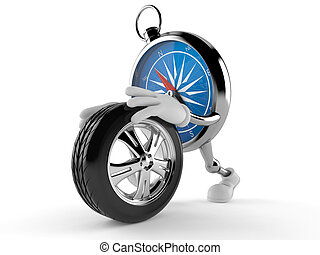 Compass character rolling spare wheel isolated on white...