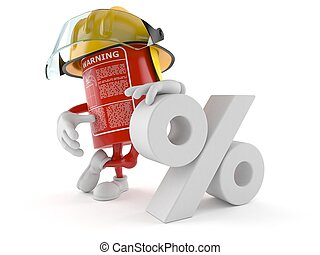 Fire extinguisher character with percent symbol
