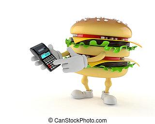 Hamburger character using calculator