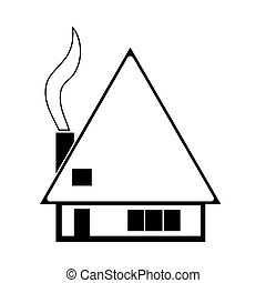 house sketch vector with smoke from chimney isolated on...