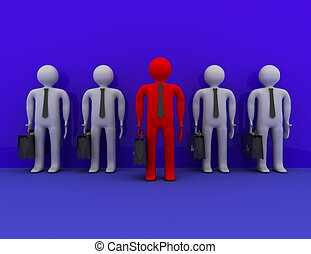 Leadership and different creative idea concept . 3d rendered...