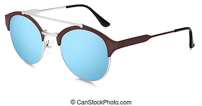 silver and brown sunglasses blue mirror lenses isolated on white background