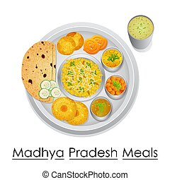 Plate full of delicious Madhya Pradesh Meal - vector...