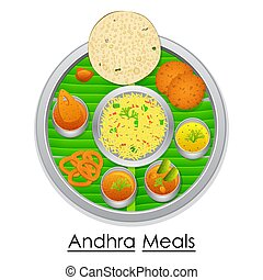 Plate full of delicious Andhra Pradesh Meal - vector...