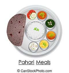 Plate full of delicious Pahari Meal - vector illustration of...