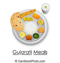 Plate full of delicious Gujrati Meal - vector illustration...