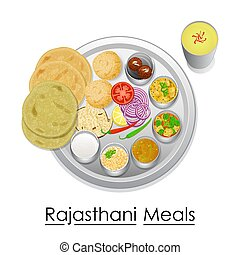 Plate full of delicious Rajasthani Meal - vector...