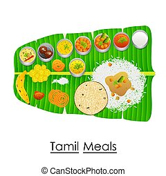 Delicious Tamil Meal on Banana Leaf - vector illustration of...