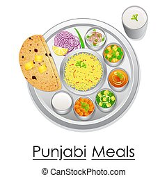 Plate full of delicious Punjabi Meal - vector illustration...