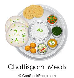 Plate full of delicious Chhattisgarhi Meal - vector...