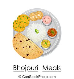 Plate full of delicious Bhojpuri Meal - vector illustration...