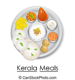 Plate full of delicious Kerala Meal - vector illustration of...