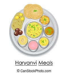 Plate full of delicious Haryanvi Meal - vector illustration...
