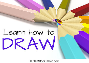 some color pencils with text learn how to draw - 3d...