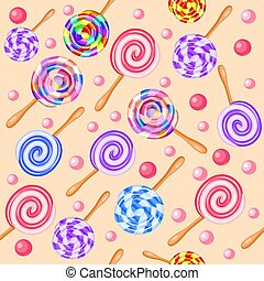 Stock Illustration seamless background of sweet fruit candy