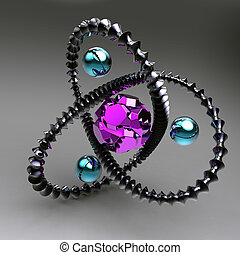 black abstraction with the gemstones inside