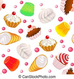 Illustration background seamless with fruit cakes,...