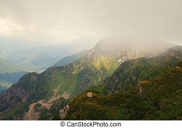 Mountain peak in the cloud. - Sochi, North Caucasus