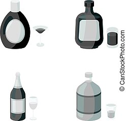 Liquor chocolate, champagne, absinthe, herbal liqueur.Alcohol set collection icons in monochrome style vector symbol stock illustration web.
