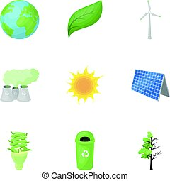 The ecology of the earth, the problems of ecology, ways to combat the ravages.Bio and Ecology icon in set collection on cartoon style vector symbol stock illustration.