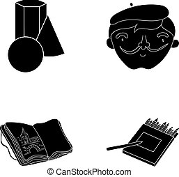 Geometric still life, a self-portrait of the artist, a notebook with drawings, a box of colored pencils.Artist and drawing set collection icons in black style vector symbol stock illustration web.