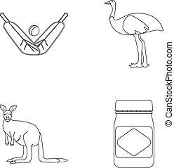 A game of cricket, an emu ostrich, a kangaroo, a popular...
