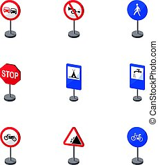 Set of road signs. Signs of prohibition, permission, priority. Road signs icon in set collection on cartoon style vector symbol stock illustration.