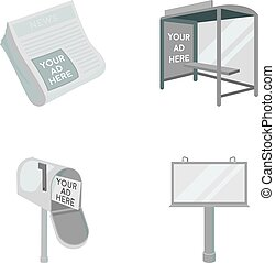Newspapers, a bus stop, a mail box, a billboard.Advertising,set collection icons in monochrome style vector symbol stock illustration web.