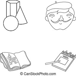 Geometric still life, a self-portrait of the artist, a notebook with drawings, a box of colored pencils.Artist and drawing set collection icons in outline style vector symbol stock illustration web.