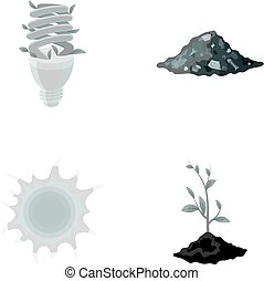 An ecological lamp, the sun, a garbage dump, a sprout from the earth.Bio and ecology set collection icons in monochrome style vector symbol stock illustration web.