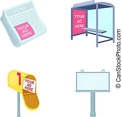 Newspapers, a bus stop, a mail box, a billboard.Advertising,set collection icons in cartoon style vector symbol stock illustration web.