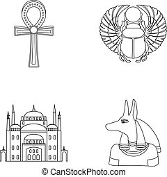 Anubis, Ankh, Cairo citadel, Egyptian beetle.Ancient Egypt...