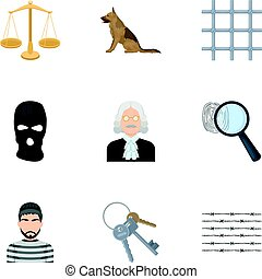 Set of images about the prison and prisoners. Surveillance of thieves, court, crime and punishment.Prison icon in set collection on cartoon style vector symbol stock illustration.