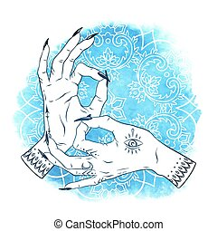 Hand drawn elegant female hands with boho tattoos over blue...