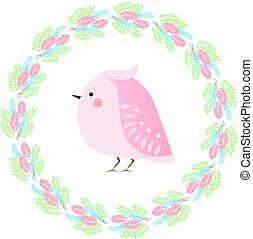 Cute kawaii spring bird and feathers wreath. Seasonal vector illustration