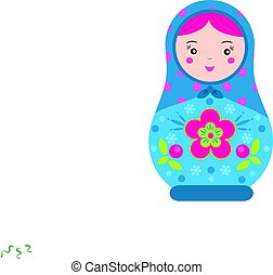 Matryoshka. Traditional russian nesting doll. Smiling...