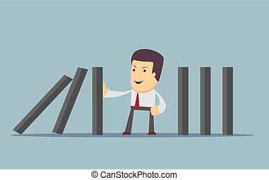 businessman stopping the domino effect with falling...